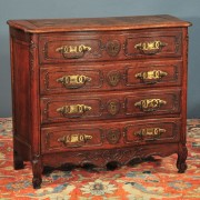 Antique French Provincial oak commode with serpentine front c. 1890