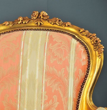 carved back detail, Louis XV-style gold gilt fauteuils, antique reproductions