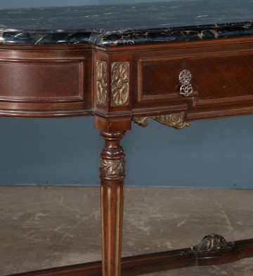 detail, antique marble-topped console table