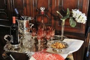 indoor tailgate with antique silver serving tray and crystal