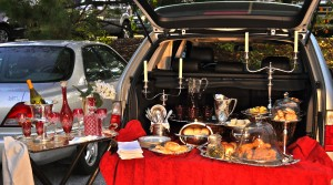 elegant outdoor tailgate with antique silver and crystal
