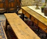 Antique pine farm table and bench