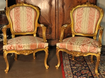 gilded Louis XV style fauteuils