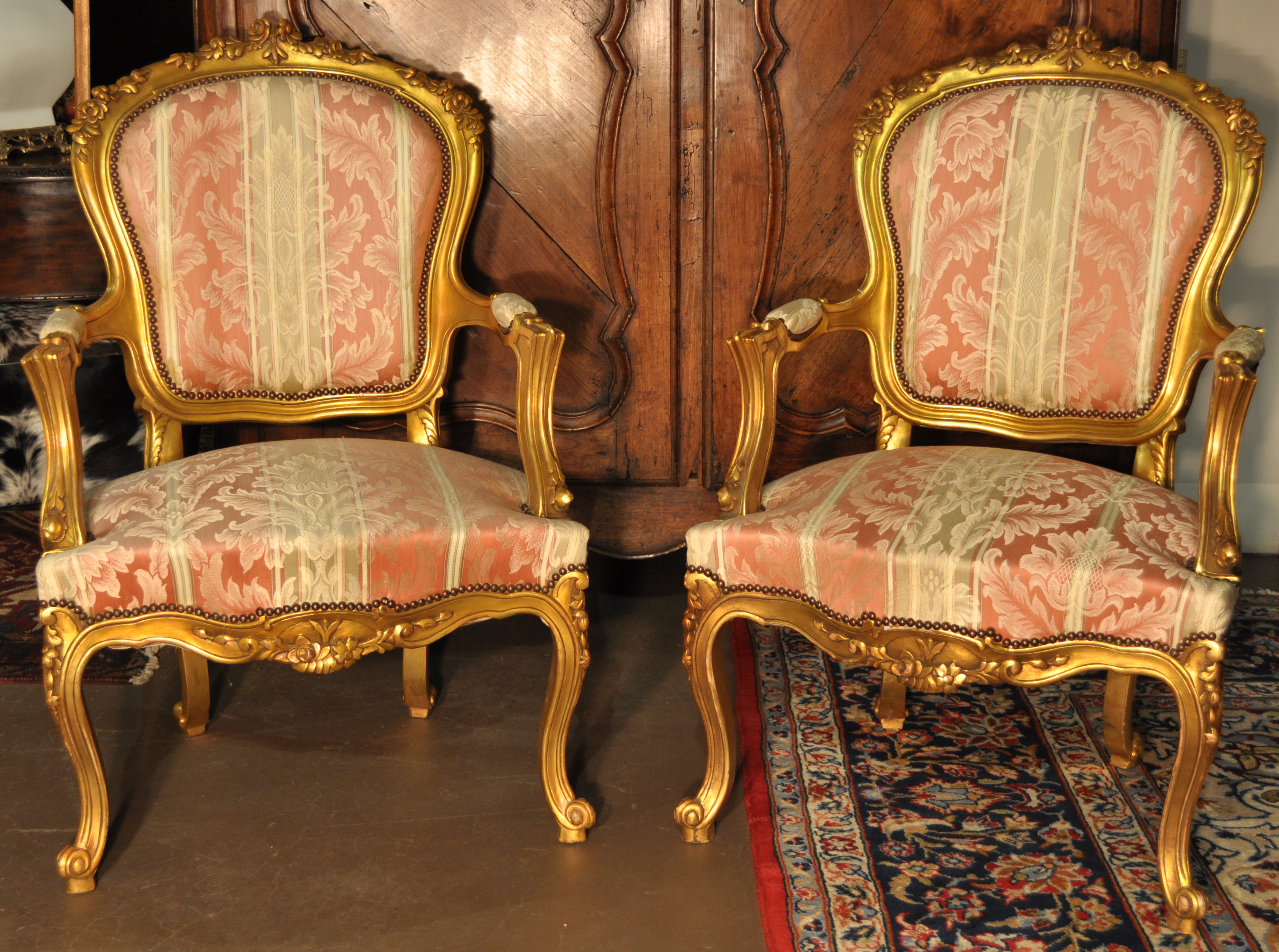 Delicieux Gilded Louis XV Style Fauteuils ...