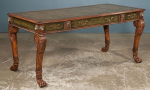 Antique Regency-style bureau plat, desk, the green leather tooled writing surface above leather bound frieze fitted with three drawers