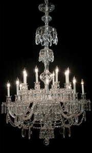 Two-tier cut crystal chandelier with 16 lights