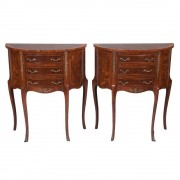 Pair of Louis XV Style Demilune Commodes