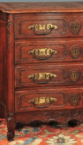 antique oak French Provincial commode detail showing brass fittings