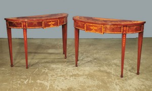 pair of console tables, satin inlay