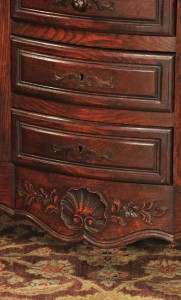 carving detail, antique French provincial marble-topped oak sideboard