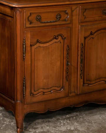panel door detail, antique french provincial cherry wood vasselier