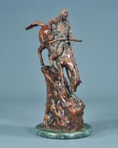 antique bronze sculpture, Indian on horseback