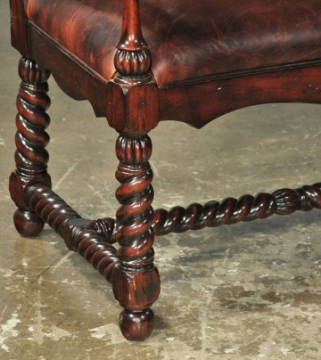 Roped leg detail, antique leather settee