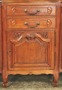 Drawer detail, antique oak Country French buffet