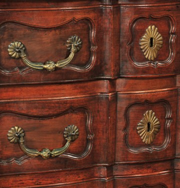 drawer detail from French provincial walnut commode, c. 1790, 18th century antique