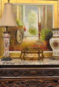 antique oil painting on canvas, bicycle in doorway