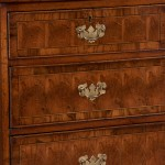 Drawer detail, English oak and oysterwoodchest
