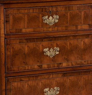 Drawer detail, antique English oak and oyster burl walnut chest