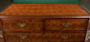Cross-banded top, antique English oak and oyster burl walnut chest c. 1830