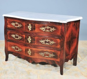 antique Louis XV-style walnut marble-top commode