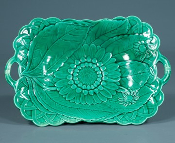 Interior view, antique green Wedgwood majolica compote c. 1900