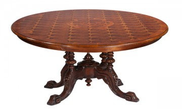 English Oyster Burl Dining Table
